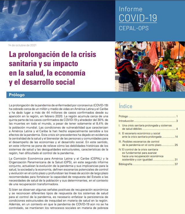 La prolongación de la crisis sanitaria y su impacto en la salud, la economía y el desarrollo social